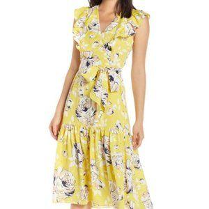 Eliza J Floral Ruffle Detail Crepe de Chine Dress